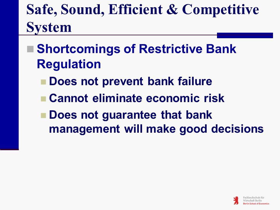 Safe, Sound, Efficient & Competitive System Shortcomings of Restrictive Bank Regulation Does not prevent bank failure Cannot eliminate economic risk D