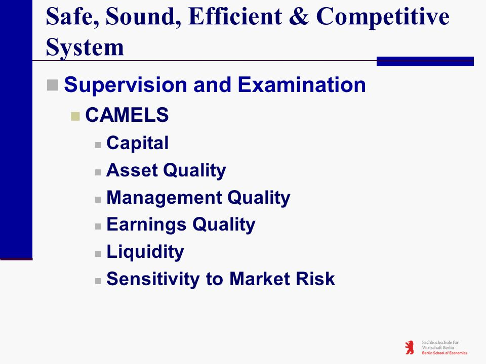 Safe, Sound, Efficient & Competitive System Supervision and Examination CAMELS Capital Asset Quality Management Quality Earnings Quality Liquidity Sen