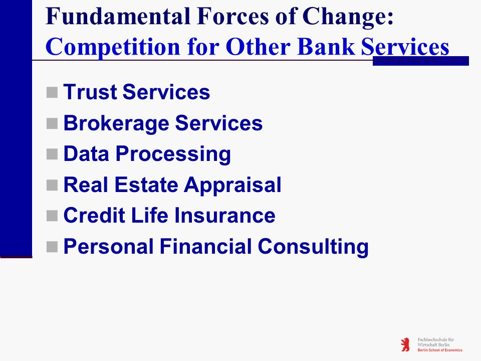 Fundamental Forces of Change: Competition for Other Bank Services Trust Services Brokerage Services Data Processing Real Estate Appraisal Credit Life