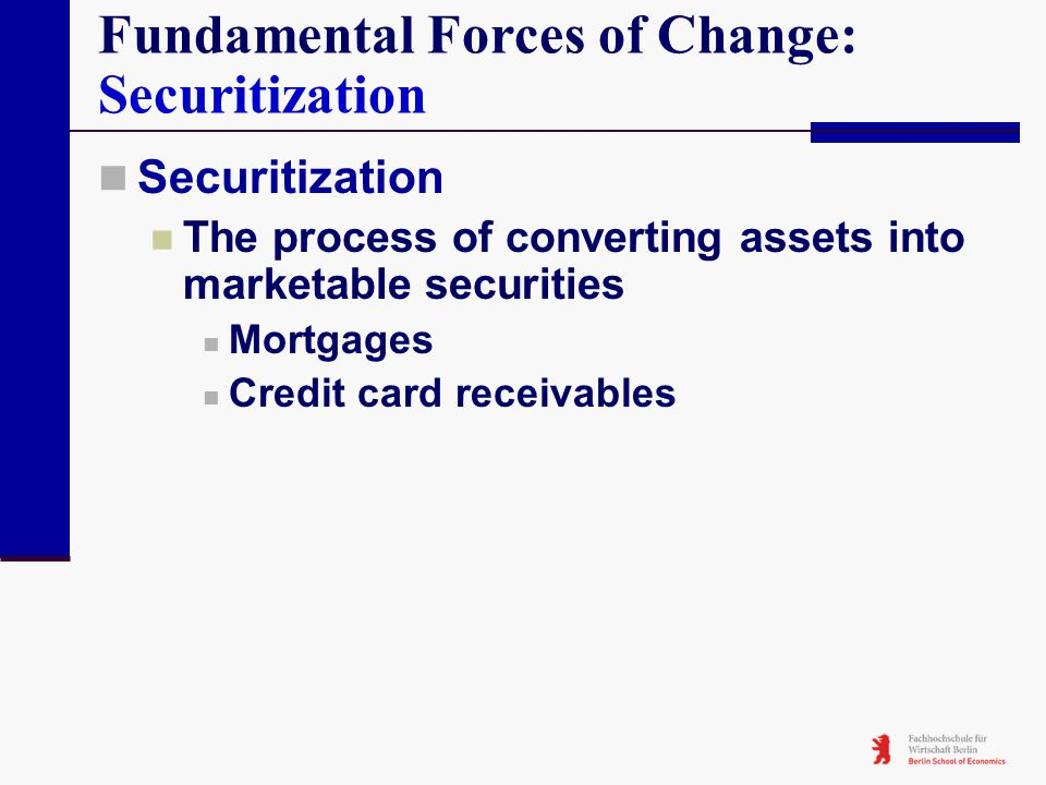 Fundamental Forces of Change: Securitization Securitization The process of converting assets into marketable securities Mortgages Credit card receivab