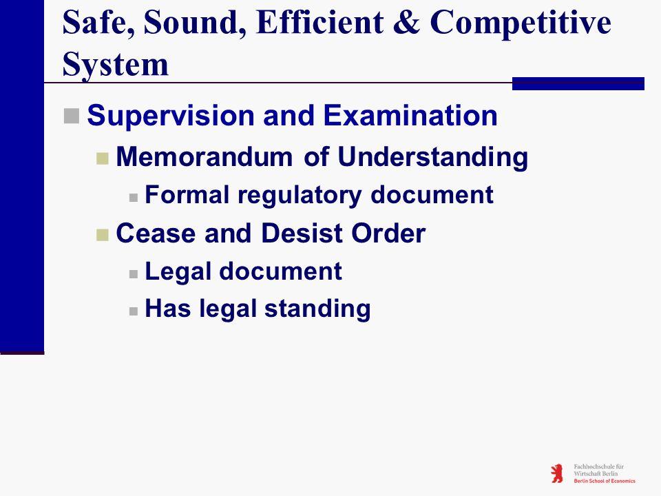 Safe, Sound, Efficient & Competitive System Supervision and Examination Memorandum of Understanding Formal regulatory document Cease and Desist Order