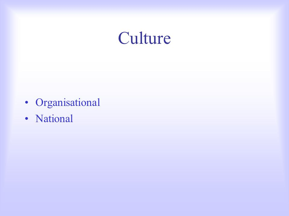 Culture Organisational National