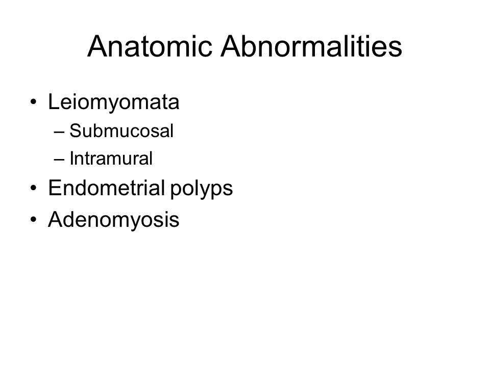 Anatomic Abnormalities Leiomyomata –Submucosal –Intramural Endometrial polyps Adenomyosis