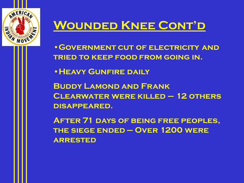 Wounded Knee Cont'd Government cut of electricity and tried to keep food from going in.