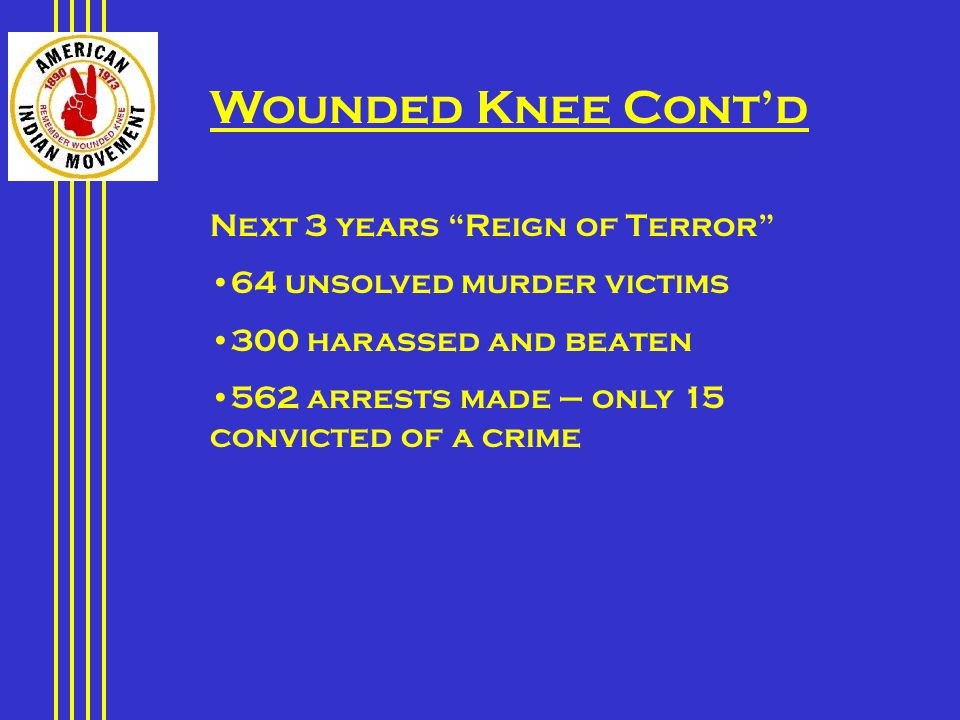 Wounded Knee Cont'd Next 3 years Reign of Terror 64 unsolved murder victims 300 harassed and beaten 562 arrests made – only 15 convicted of a crime
