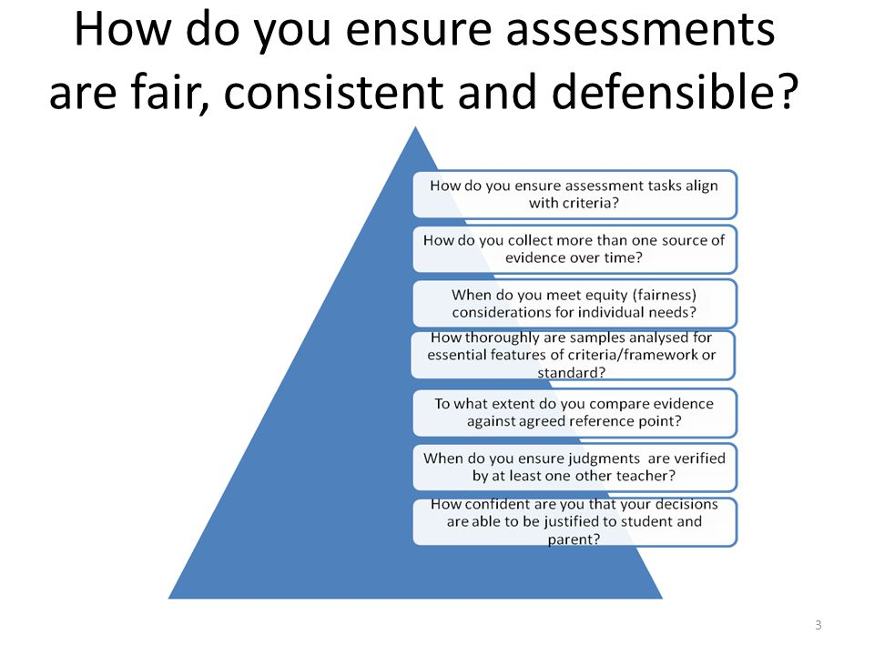 3 How do you ensure assessments are fair, consistent and defensible?