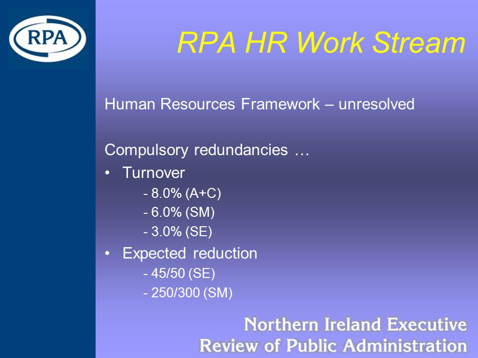 RPA HR Work Stream Human Resources Framework – unresolved Compulsory redundancies … Turnover - 8.0% (A+C) - 6.0% (SM) - 3.0% (SE) Expected reduction -