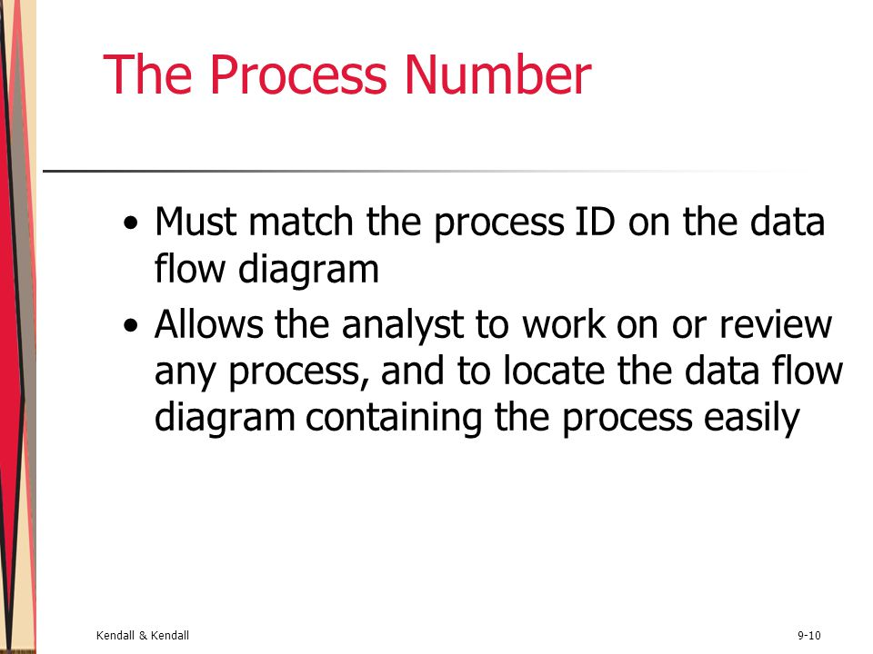 Kendall & Kendall9-10 The Process Number Must match the process ID on the data flow diagram Allows the analyst to work on or review any process, and to locate the data flow diagram containing the process easily
