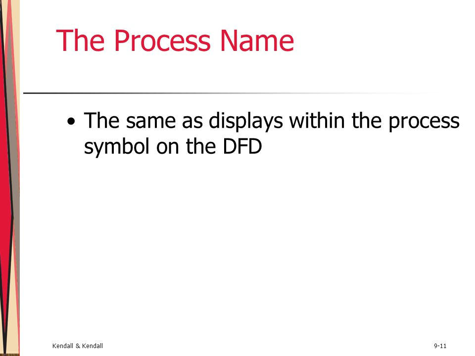Kendall & Kendall9-11 The Process Name The same as displays within the process symbol on the DFD