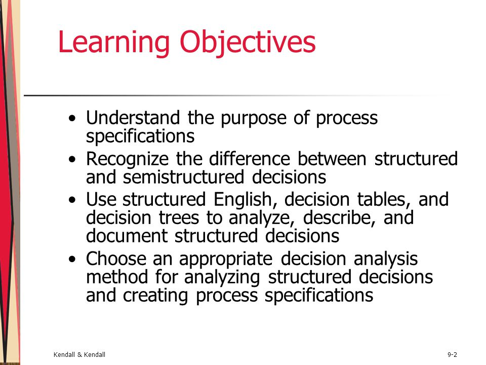 Kendall & Kendall9-23 Writing Structured English Express all logic in terms of sequential structures, decision structures, case structures, or iterations Use and capitalize accepted keywords such as IF, THEN, ELSE, DO, and PERFORM Indent blocks of statements to show their hierarchy (nesting) clearly Underline words or phrases that have been defined in a data dictionary Clarify the logical statements