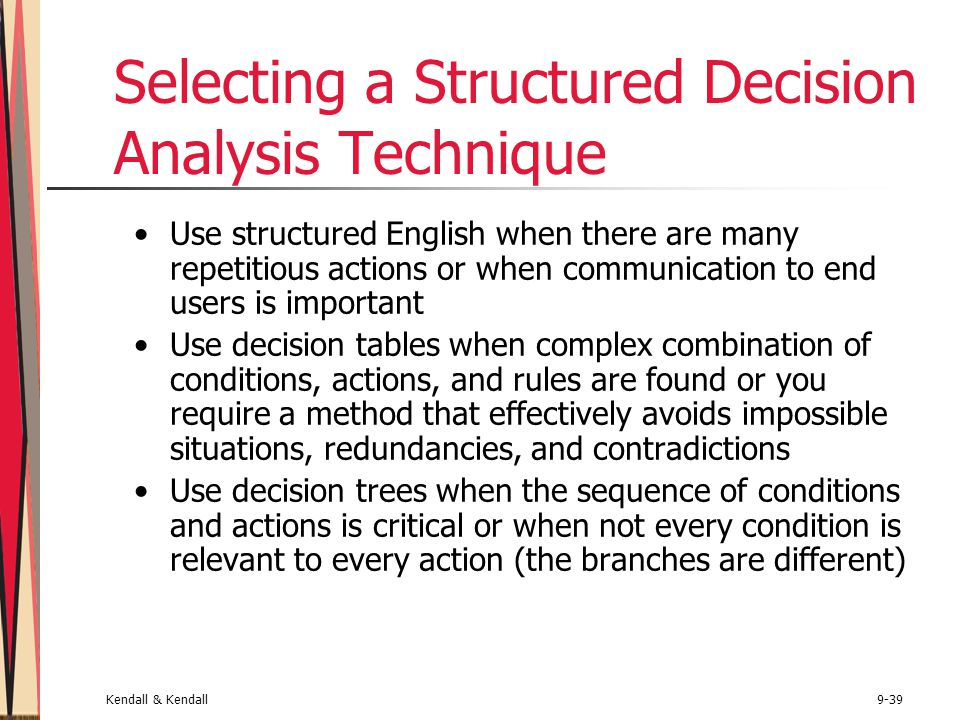 Kendall & Kendall9-39 Selecting a Structured Decision Analysis Technique Use structured English when there are many repetitious actions or when communication to end users is important Use decision tables when complex combination of conditions, actions, and rules are found or you require a method that effectively avoids impossible situations, redundancies, and contradictions Use decision trees when the sequence of conditions and actions is critical or when not every condition is relevant to every action (the branches are different)
