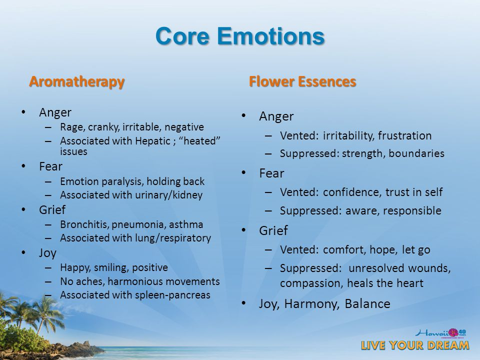 Core Emotions Aromatherapy Anger – Rage, cranky, irritable, negative – Associated with Hepatic ; heated issues Fear – Emotion paralysis, holding back – Associated with urinary/kidney Grief – Bronchitis, pneumonia, asthma – Associated with lung/respiratory Joy – Happy, smiling, positive – No aches, harmonious movements – Associated with spleen-pancreas Flower Essences Anger – Vented: irritability, frustration – Suppressed: strength, boundaries Fear – Vented: confidence, trust in self – Suppressed: aware, responsible Grief – Vented: comfort, hope, let go – Suppressed: unresolved wounds, compassion, heals the heart Joy, Harmony, Balance