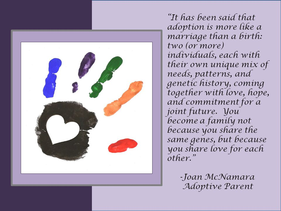 It has been said that adoption is more like a marriage than a birth: two (or more) individuals, each with their own unique mix of needs, patterns, and genetic history, coming together with love, hope, and commitment for a joint future.