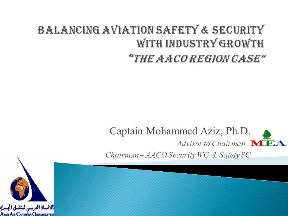 Captain Mohammed Aziz, Ph.D. Advisor to Chairman – Chairman – AACO Security WG & Safety SC