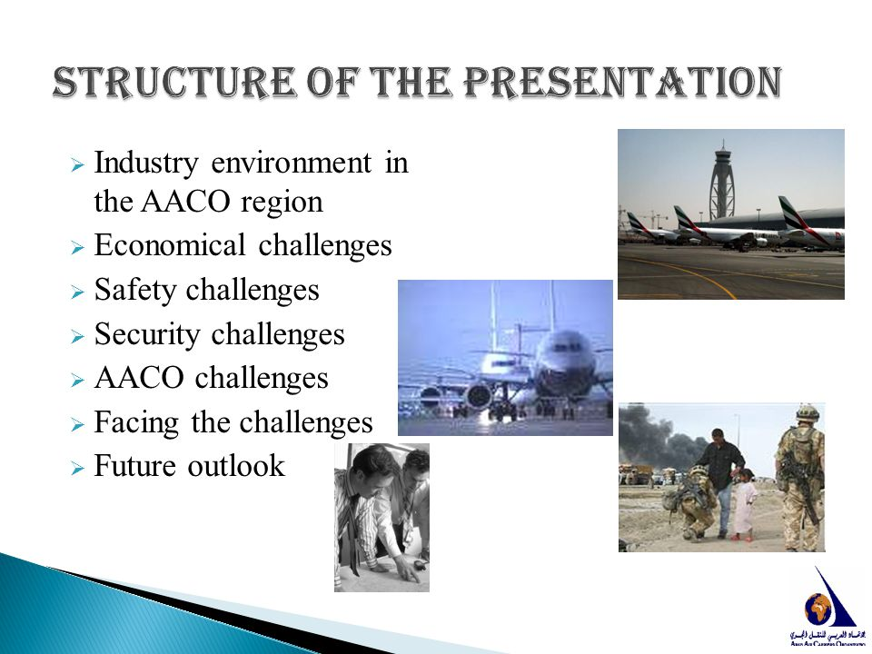  Industry environment in the AACO region  Economical challenges  Safety challenges  Security challenges  AACO challenges  Facing the challenges
