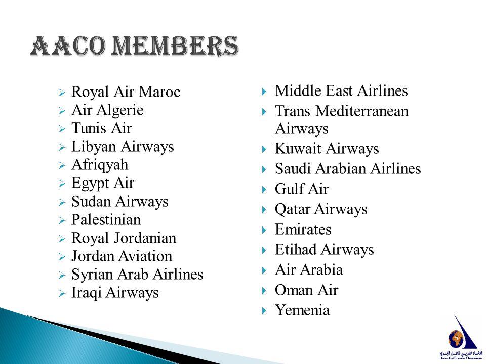  Royal Air Maroc  Air Algerie  Tunis Air  Libyan Airways  Afriqyah  Egypt Air  Sudan Airways  Palestinian  Royal Jordanian  Jordan Aviation