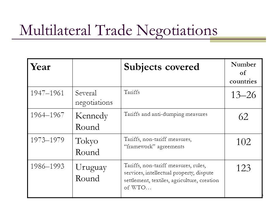 4 World Trade Organization GATT becomes WTO (1995) 1.