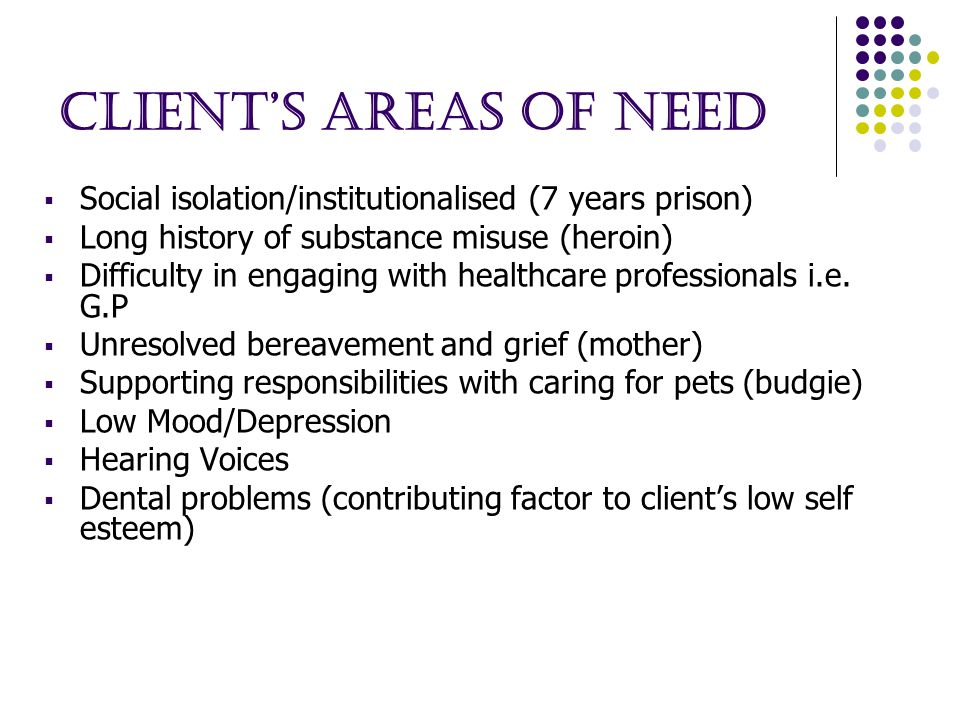 Client's areas of need  Social isolation/institutionalised (7 years prison)  Long history of substance misuse (heroin)  Difficulty in engaging with healthcare professionals i.e.