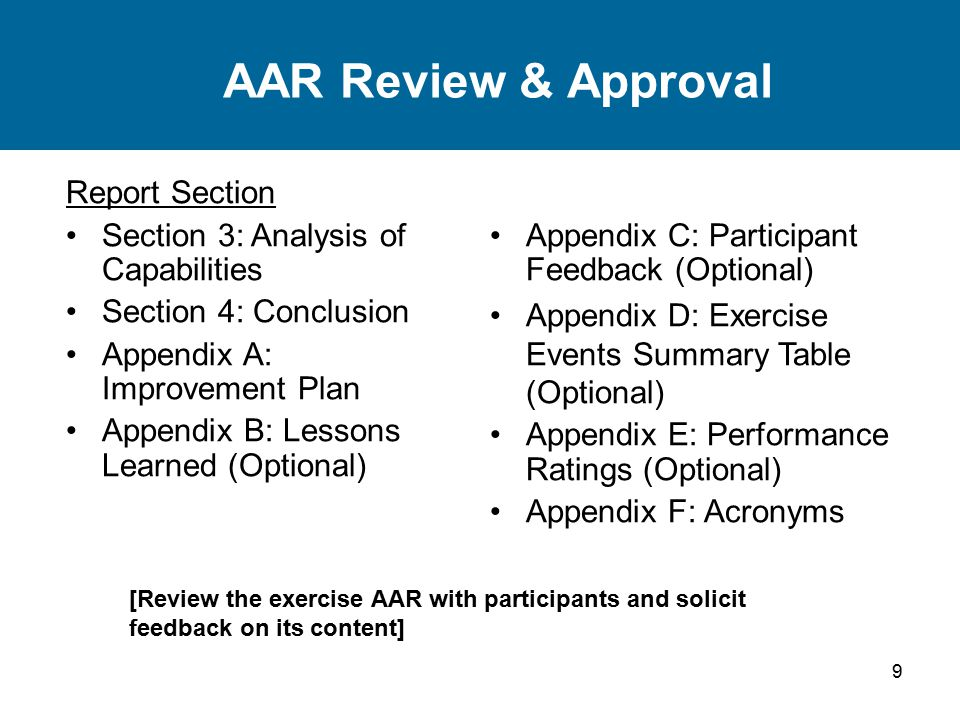 9 AAR Review & Approval Report Section Section 3: Analysis of Capabilities Section 4: Conclusion Appendix A: Improvement Plan Appendix B: Lessons Lear