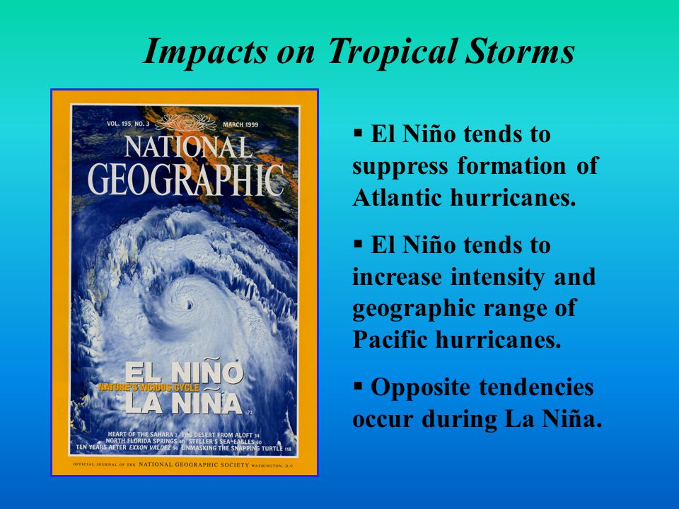 Tropical Storms  El Niño tends to suppress formation of Atlantic hurricanes.