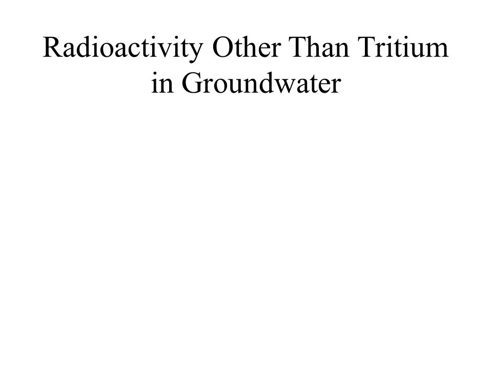 Radioactivity Other Than Tritium in Groundwater