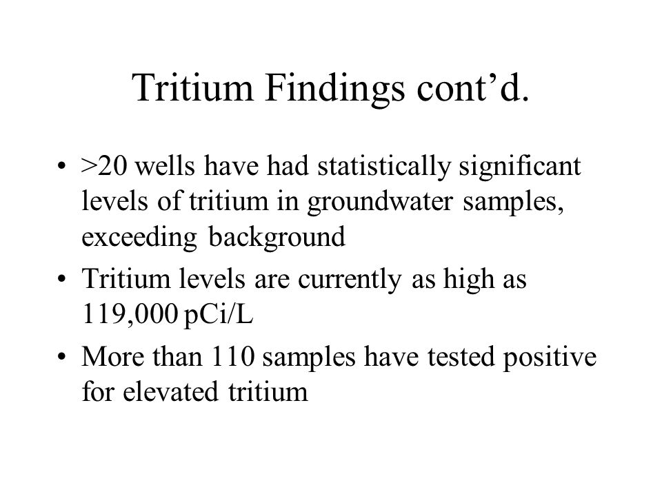 Tritium Findings cont'd.