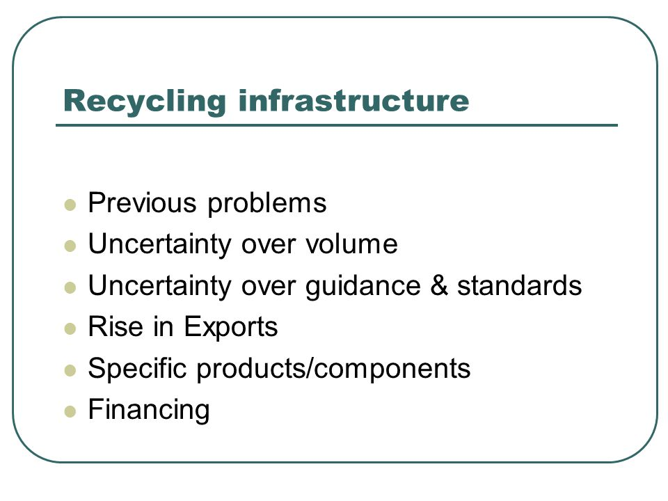 Recycling infrastructure Previous problems Uncertainty over volume Uncertainty over guidance & standards Rise in Exports Specific products/components Financing