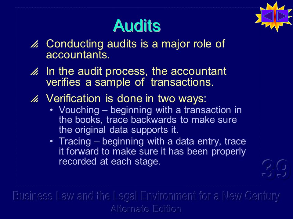 Audits  Conducting audits is a major role of accountants.