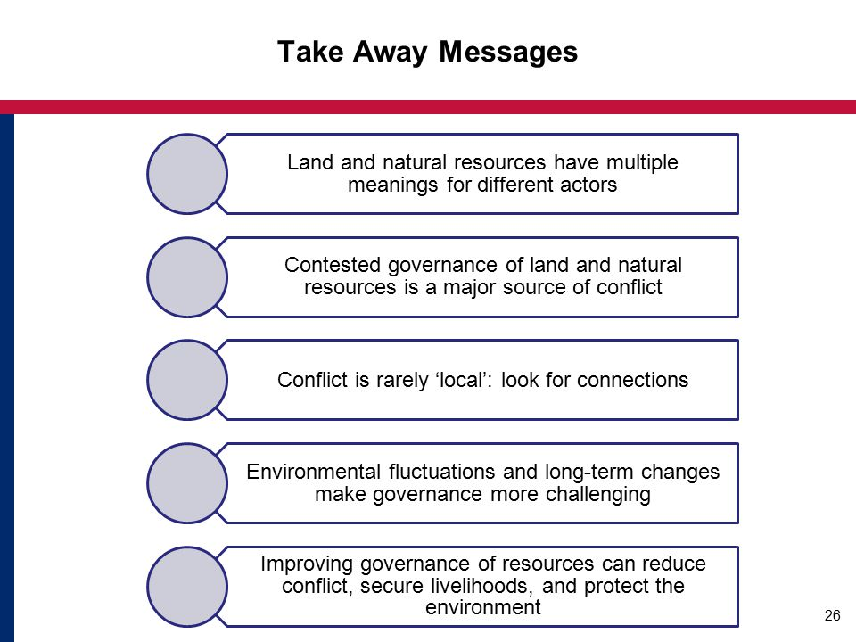 Take Away Messages Land and natural resources have multiple meanings for different actors Contested governance of land and natural resources is a major source of conflict Conflict is rarely 'local': look for connections Environmental fluctuations and long-term changes make governance more challenging Improving governance of resources can reduce conflict, secure livelihoods, and protect the environment 26