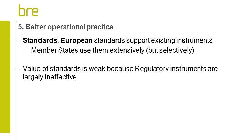 5. Better operational practice –Standards.
