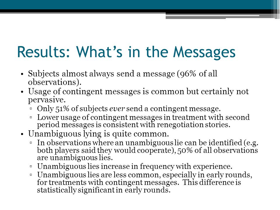 Results: What's in the Messages Subjects almost always send a message (96% of all observations).