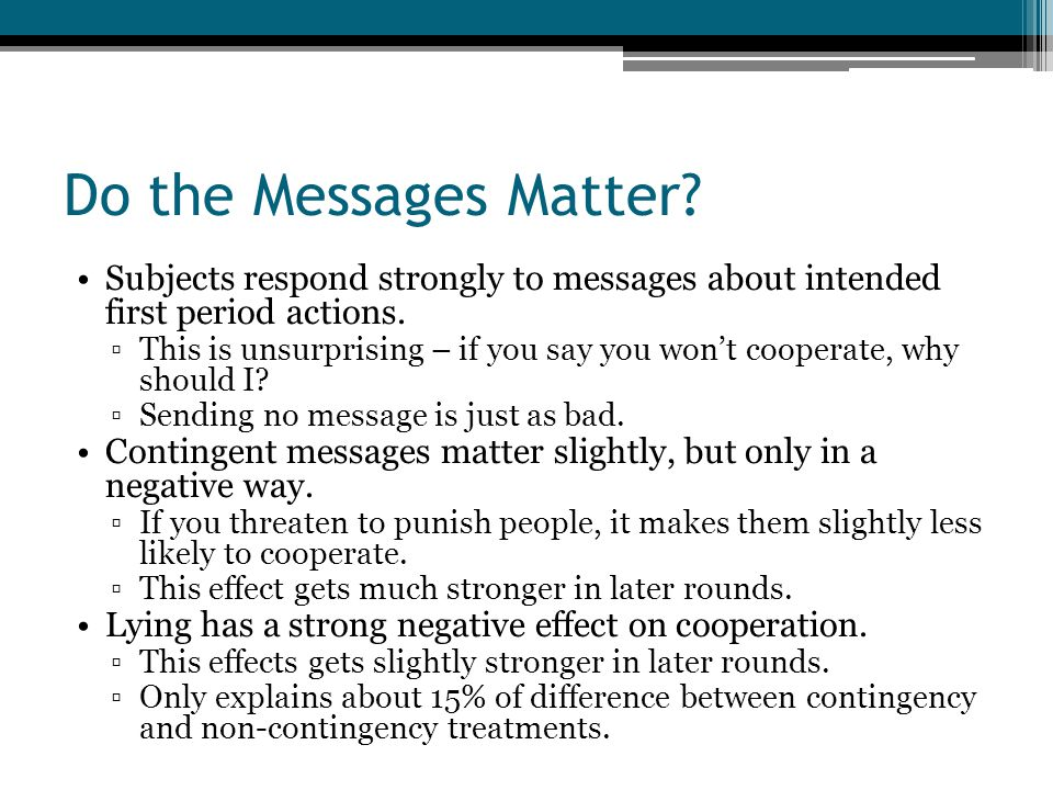 Do the Messages Matter. Subjects respond strongly to messages about intended first period actions.