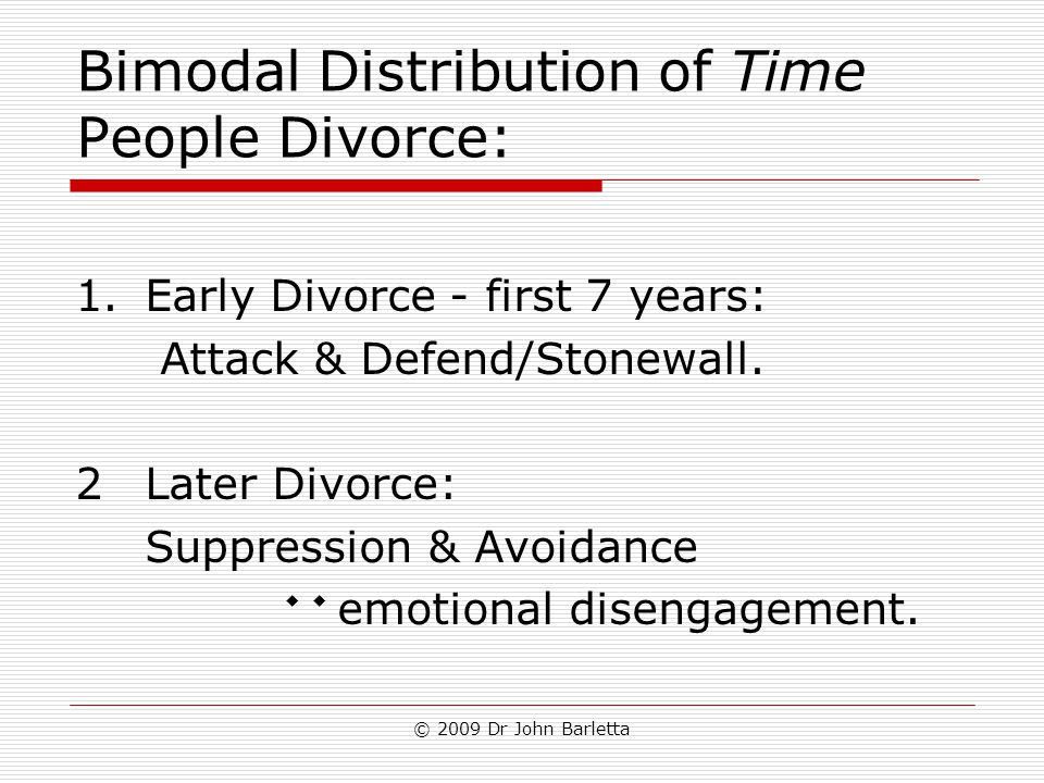 © 2009 Dr John Barletta Bimodal Distribution of Time People Divorce: 1.Early Divorce - first 7 years: Attack & Defend/Stonewall. 2Later Divorce: Suppr