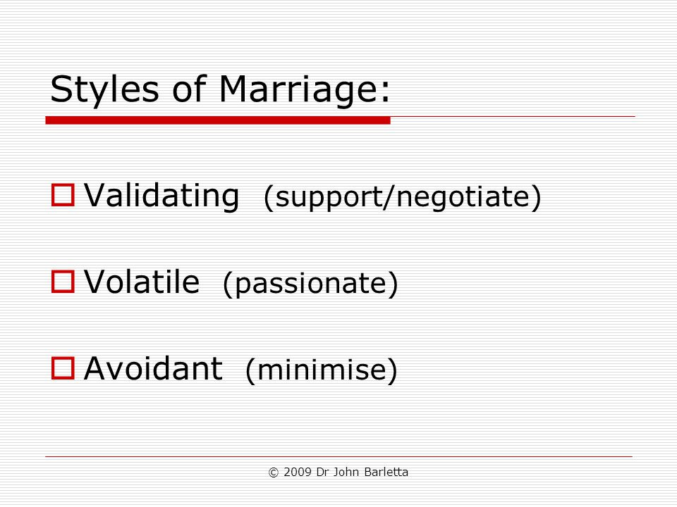 © 2009 Dr John Barletta Styles of Marriage:  Validating (support/negotiate)  Volatile (passionate)  Avoidant (minimise)