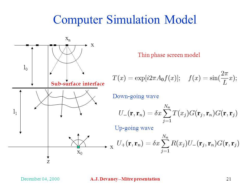 December 04, 2000A.J. Devaney--Mitre presentation21 Computer Simulation Model x x z xnxn x0x0 l0l0 l1l1 Sub-surface interface Thin phase screen model