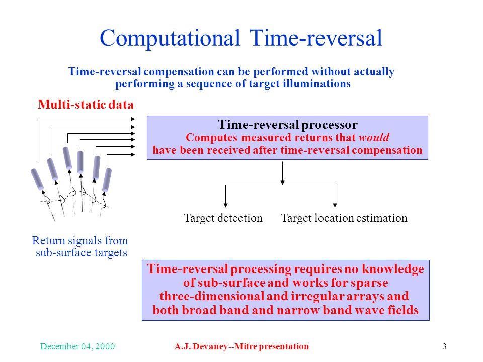 December 04, 2000A.J. Devaney--Mitre presentation3 Computational Time-reversal Time-reversal processor Computes measured returns that would have been