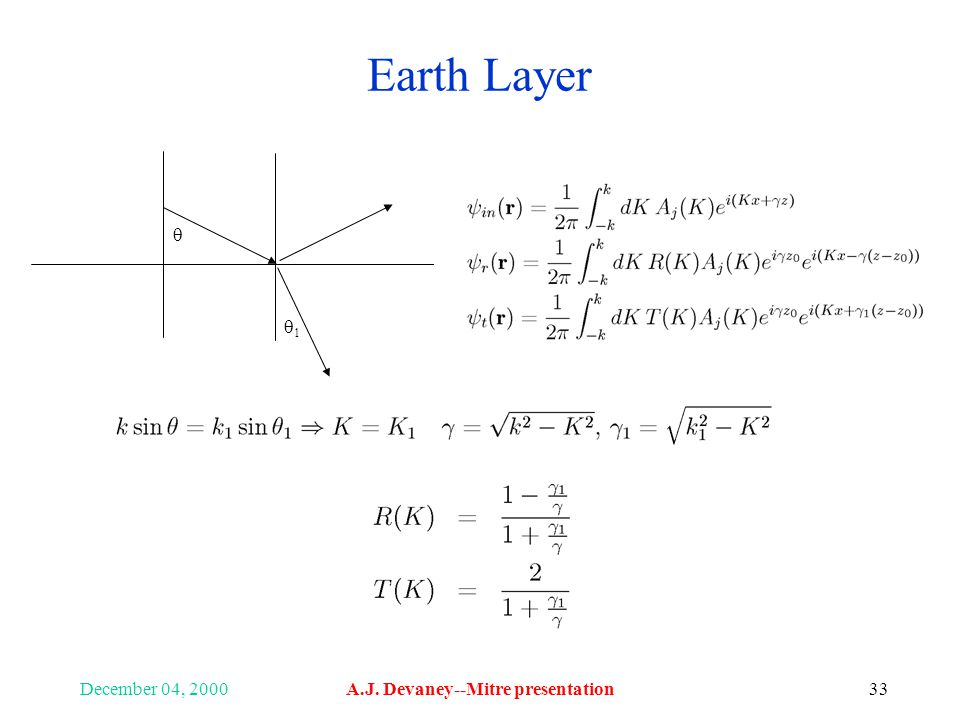 December 04, 2000A.J. Devaney--Mitre presentation33 Earth Layer 11 