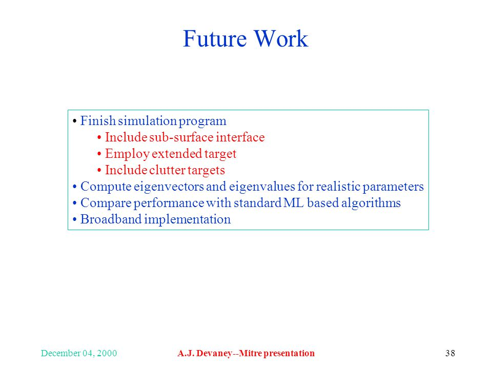 December 04, 2000A.J. Devaney--Mitre presentation38 Future Work Finish simulation program Include sub-surface interface Employ extended target Include