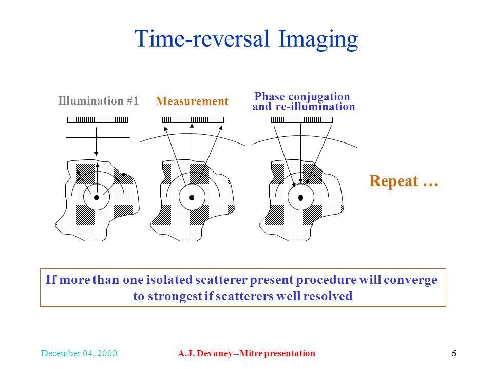 December 04, 2000A.J. Devaney--Mitre presentation6 Time-reversal Imaging Illumination #1 Measurement Phase conjugation and re-illumination If more tha
