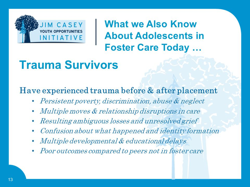 13 Have experienced trauma before & after placement Persistent poverty, discrimination, abuse & neglect Multiple moves & relationship disruptions in c