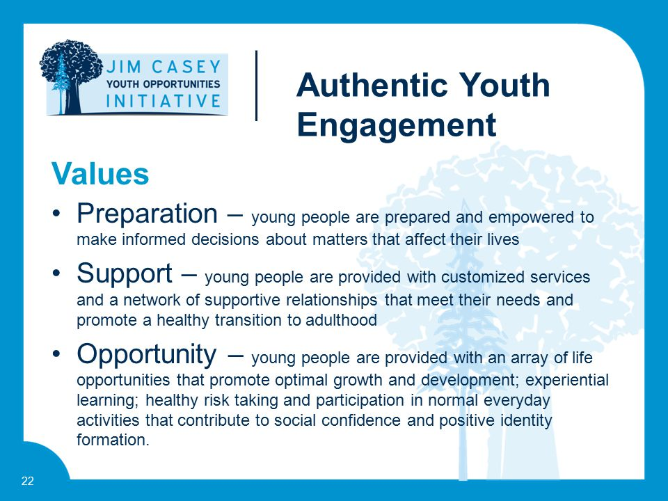 22 Preparation – young people are prepared and empowered to make informed decisions about matters that affect their lives Support – young people are p