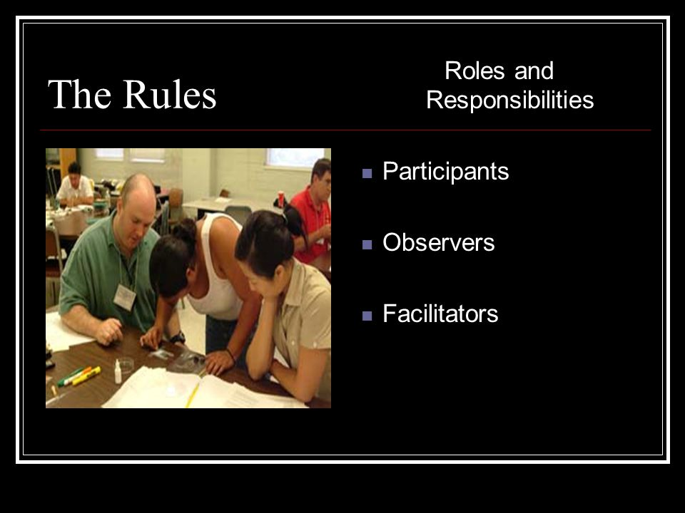 The Rules Roles and Responsibilities Participants Observers Facilitators