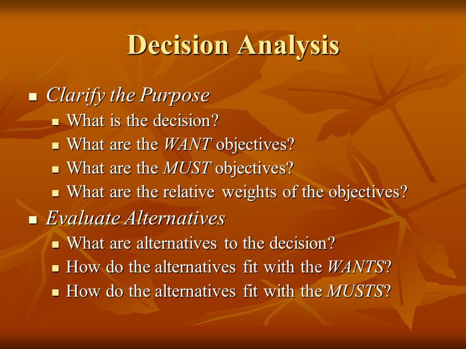 Decision Analysis Clarify the Purpose Clarify the Purpose What is the decision? What is the decision? What are the WANT objectives? What are the WANT