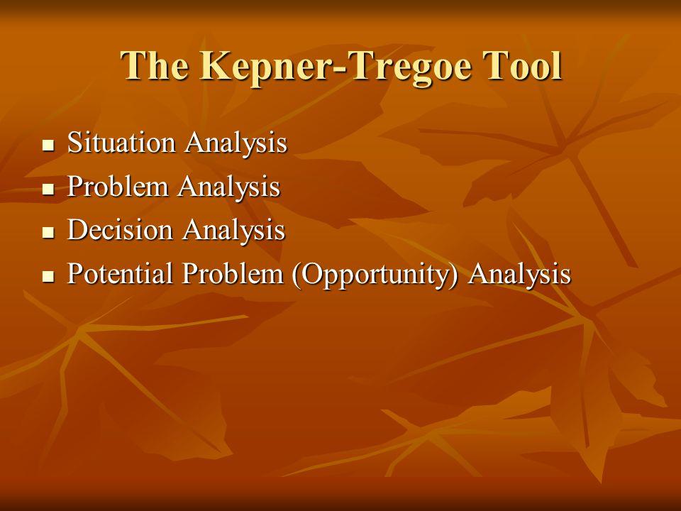 The Kepner-Tregoe Tool Situation Analysis Situation Analysis Problem Analysis Problem Analysis Decision Analysis Decision Analysis Potential Problem (