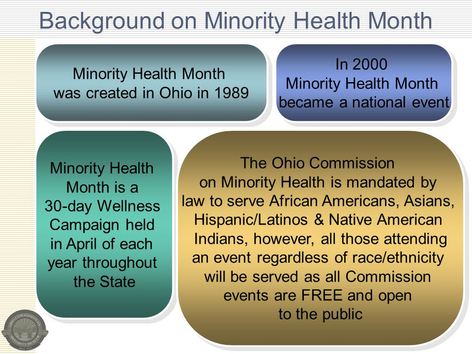 Background on Minority Health Month Minority Health Month was created in Ohio in 1989 Minority Health Month was created in Ohio in 1989 In 2000 Minority Health Month became a national event In 2000 Minority Health Month became a national event Minority Health Month is a 30-day Wellness Campaign held in April of each year throughout the State Minority Health Month is a 30-day Wellness Campaign held in April of each year throughout the State The Ohio Commission on Minority Health is mandated by law to serve African Americans, Asians, Hispanic/Latinos & Native American Indians, however, all those attending an event regardless of race/ethnicity will be served as all Commission events are FREE and open to the public The Ohio Commission on Minority Health is mandated by law to serve African Americans, Asians, Hispanic/Latinos & Native American Indians, however, all those attending an event regardless of race/ethnicity will be served as all Commission events are FREE and open to the public