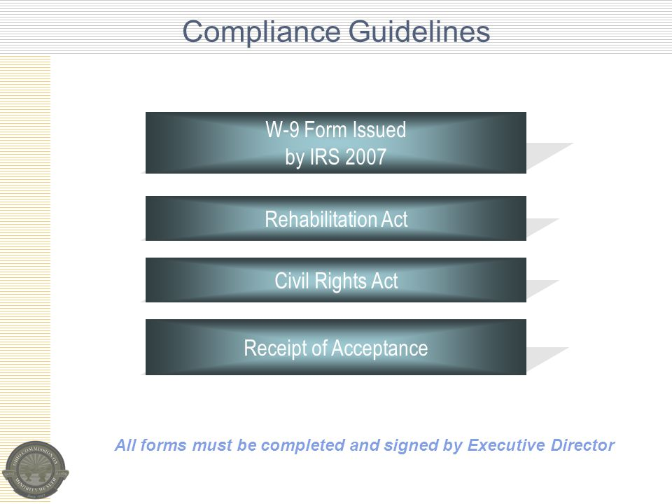 Compliance Guidelines All forms must be completed and signed by Executive Director Civil Rights Act Rehabilitation Act Receipt of Acceptance W-9 Form Issued by IRS 2007
