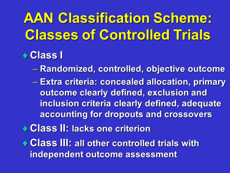 AAN Classification Scheme: Classes of Controlled Trials  Class I –Randomized, controlled, objective outcome –Extra criteria: concealed allocation, primary outcome clearly defined, exclusion and inclusion criteria clearly defined, adequate accounting for dropouts and crossovers  Class II: lacks one criterion  Class III: all other controlled trials with independent outcome assessment
