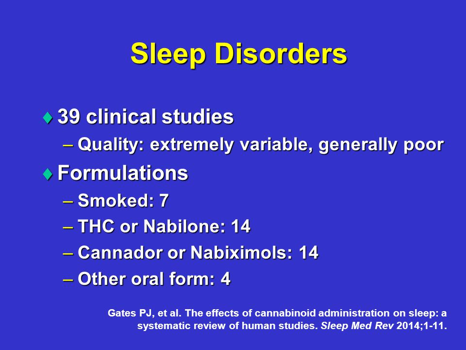 Sleep Disorders  39 clinical studies –Quality: extremely variable, generally poor  Formulations –Smoked: 7 –THC or Nabilone: 14 –Cannador or Nabiximols: 14 –Other oral form: 4 Gates PJ, et al.