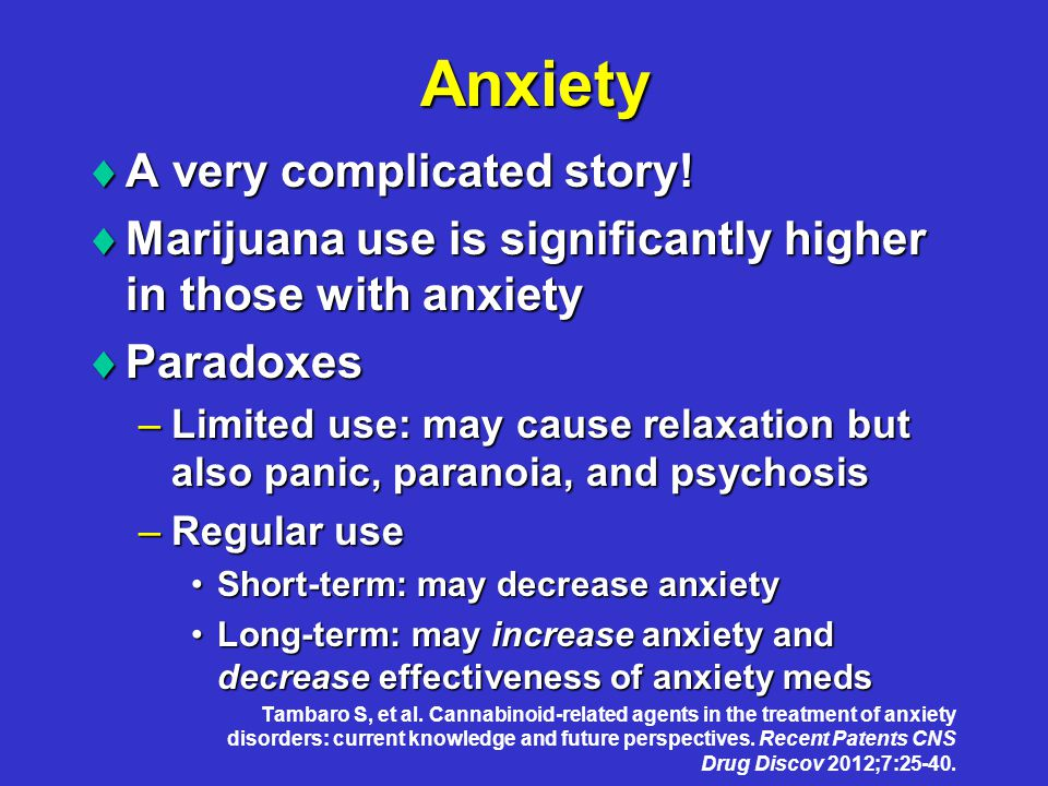 Anxiety  A very complicated story.