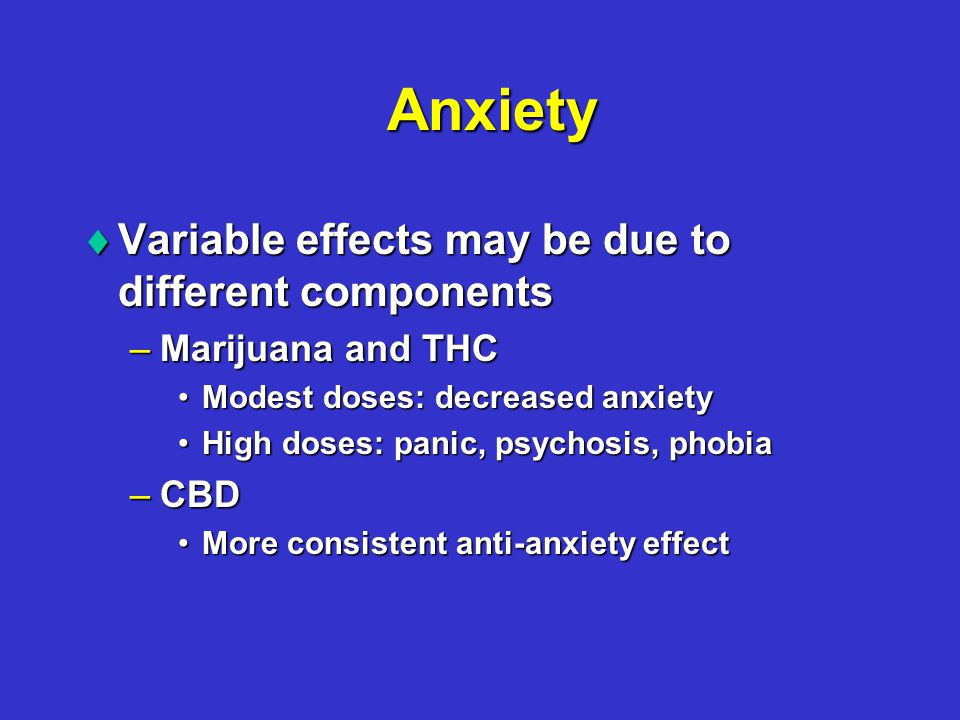 Anxiety  Variable effects may be due to different components –Marijuana and THC Modest doses: decreased anxietyModest doses: decreased anxiety High doses: panic, psychosis, phobiaHigh doses: panic, psychosis, phobia –CBD More consistent anti-anxiety effectMore consistent anti-anxiety effect
